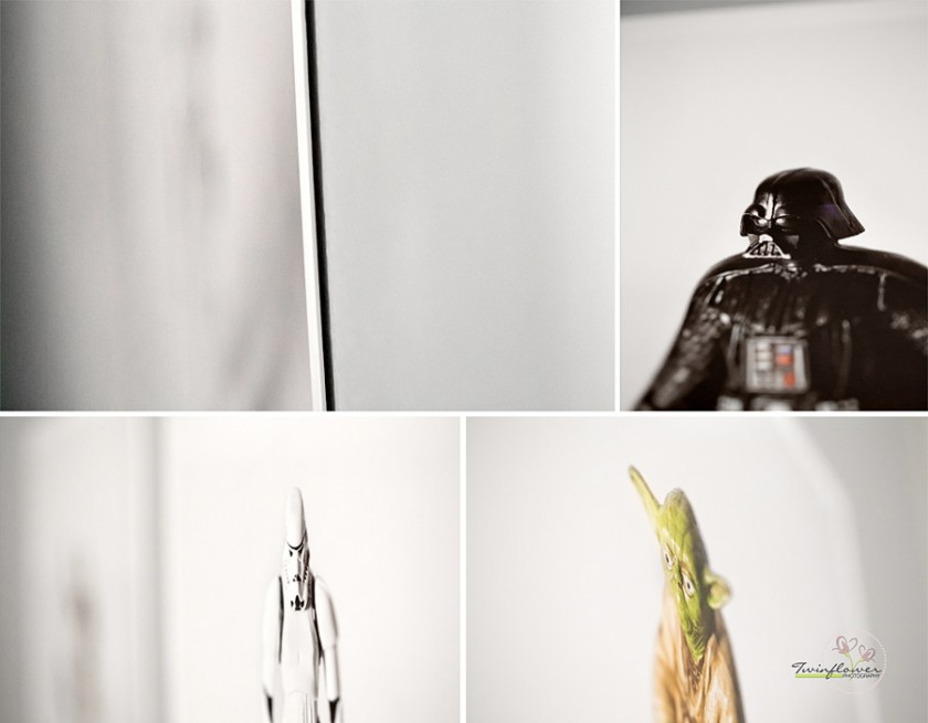 close ups of photo prints of toys on the wall