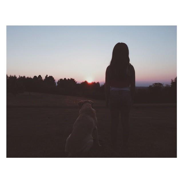 girl and dog silhouette instagram photo by carmenmariez