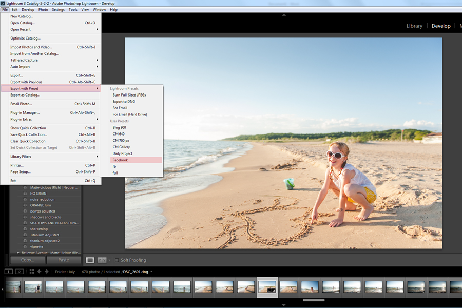 how to create export presets for Lightroom