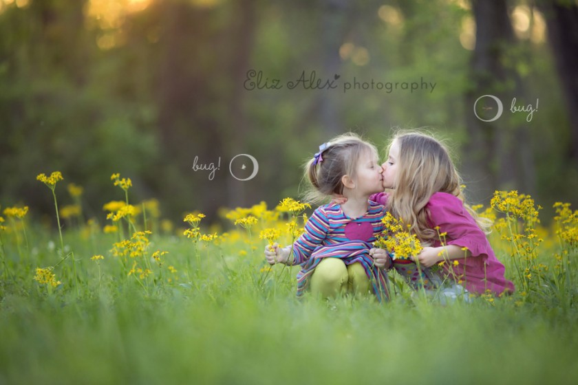 sisters in a yellow flower field photo by Eliz Alex Photography