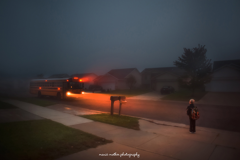child waiting for school bus photo by Beth Mancuso of Manic Mother Photography