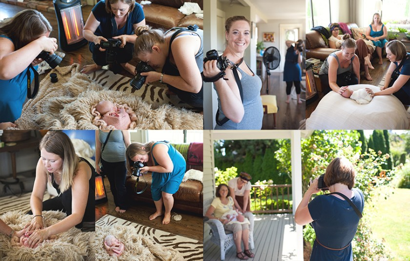 group of photographers taking newborn pictures