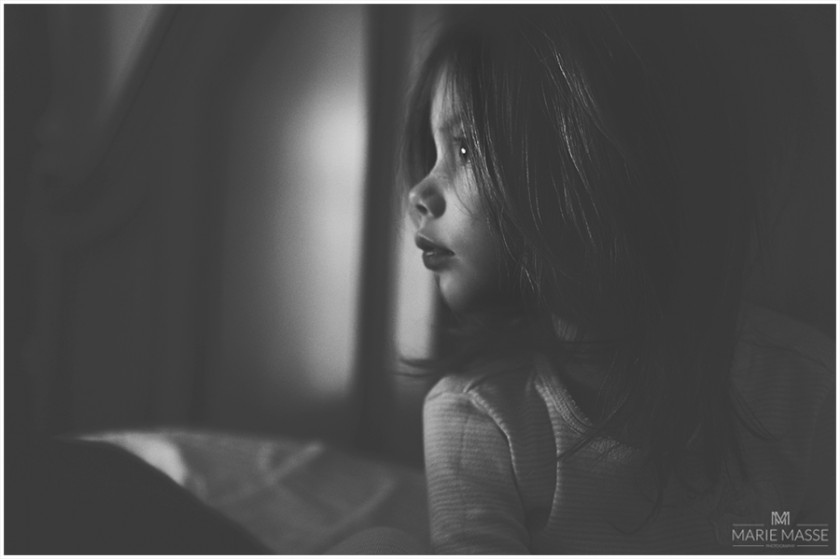 photo of young girl in black and white by Michigan photographer Marie Masse