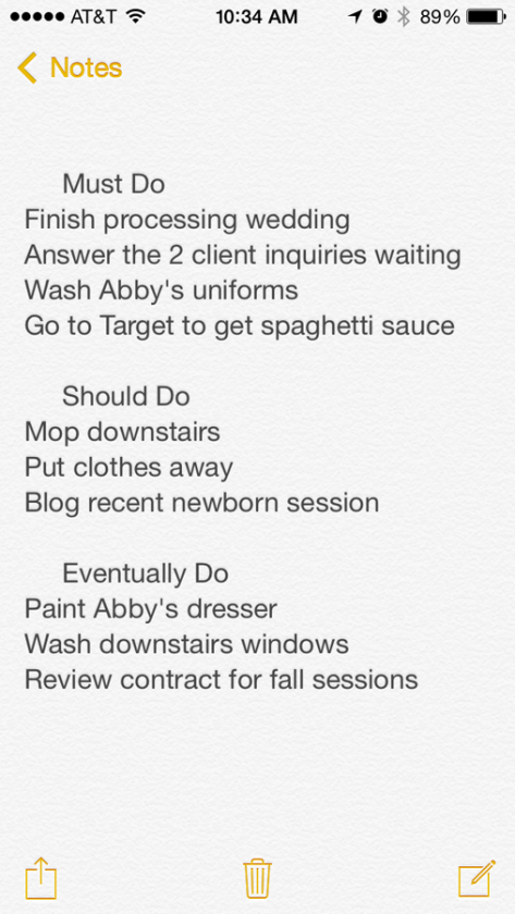 to do list in notepad on the iphone