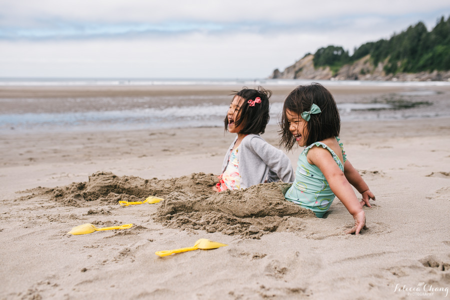 young girls playing on the beach photograph by Felicia Chang