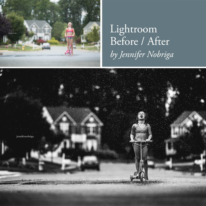 before and after editing in Lightroom video tutorial by Jennifer Nobriga
