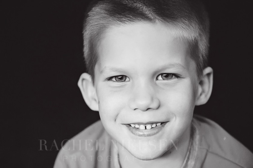 black and white portrait of boy by Salt Lake City Utah photographer Rachel Nielsen