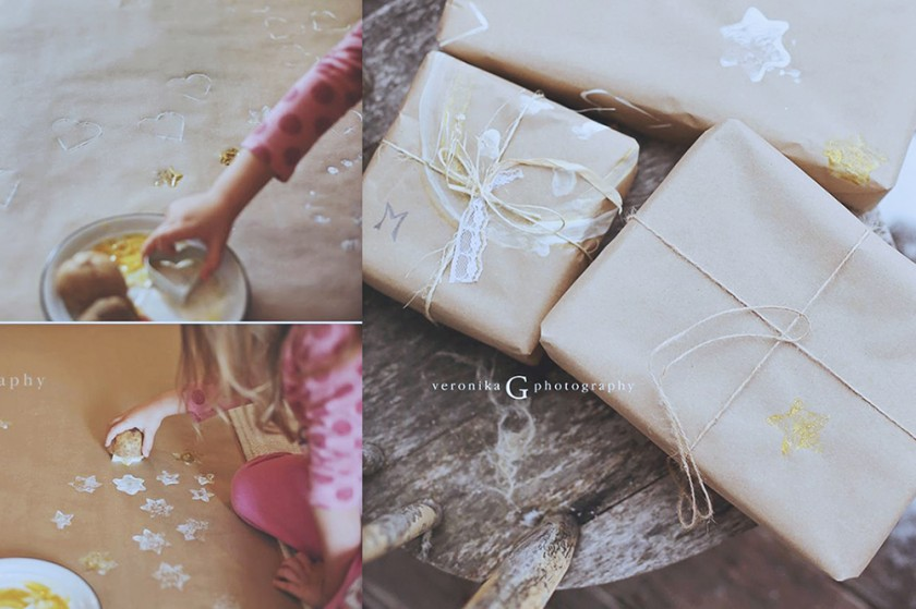 DIY wrapping paper for the kids by Veronika G Photography