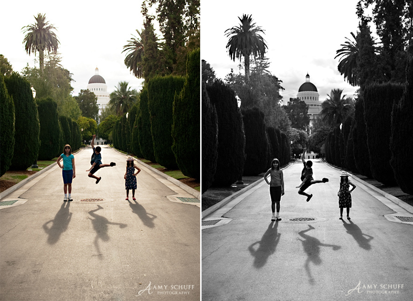 before and after of cool photo converted to black and white by Amy Schuff