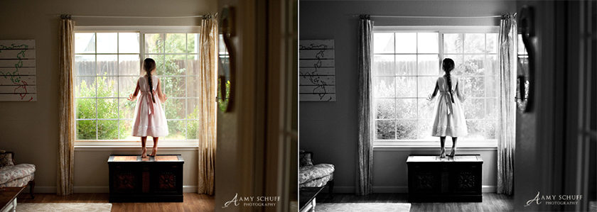 before and after of well lit picture converted to black and white by Amy Schuff