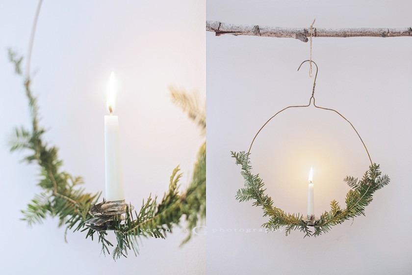 candle ornament on wire hanger by Veronika G Photography
