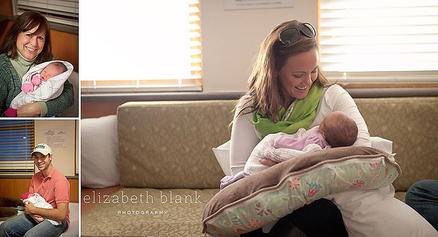 family holding newborn baby in hospital by Elizabeth Blank