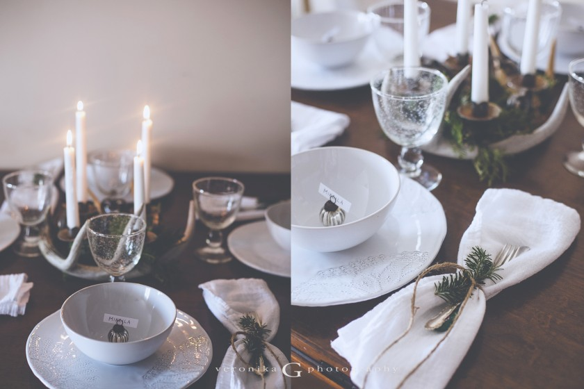 table set for Christmas dinner photo by Veronika G Photography