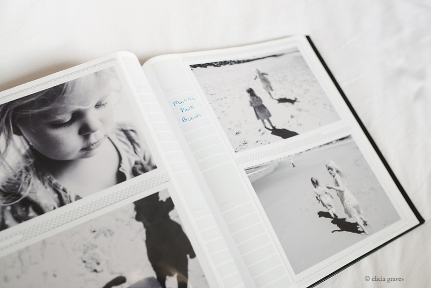 Notes in a photo album by Elicia Graves