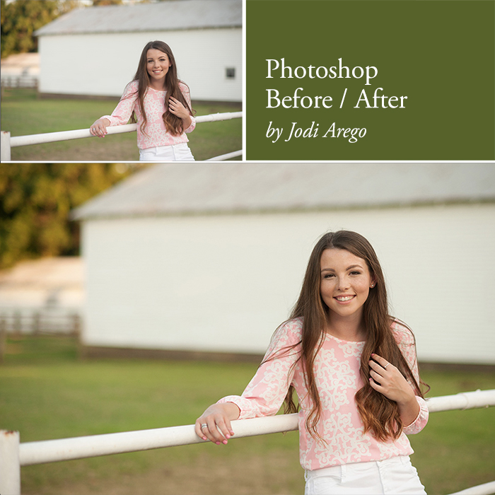 before and after Photoshop edit by Jodi Arego