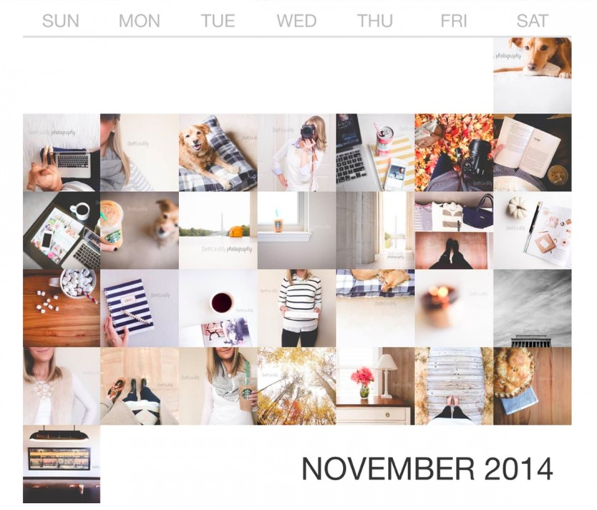 caldendar month of Instagram photos by Beth Deschamp