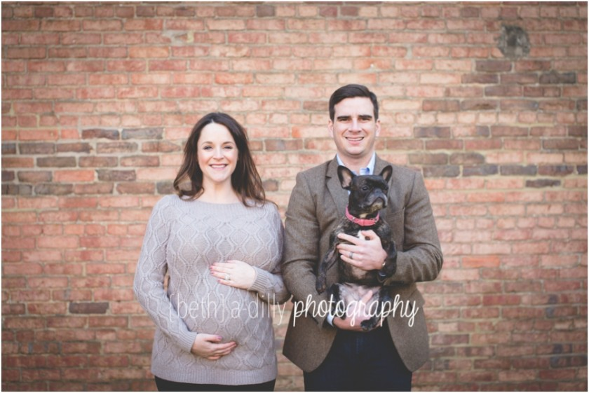 maternity portrait with dog by Beth Deschamp