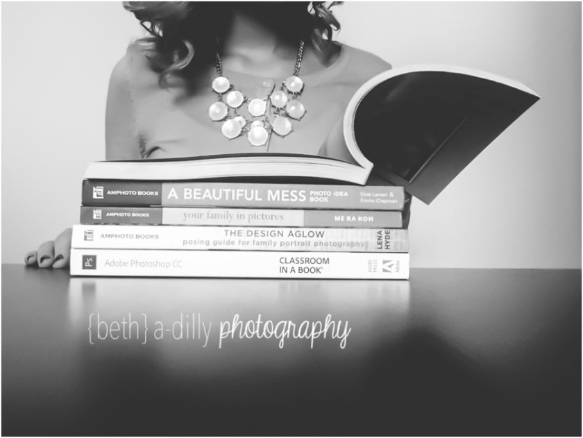 stack of photography books by Beth Deschamp