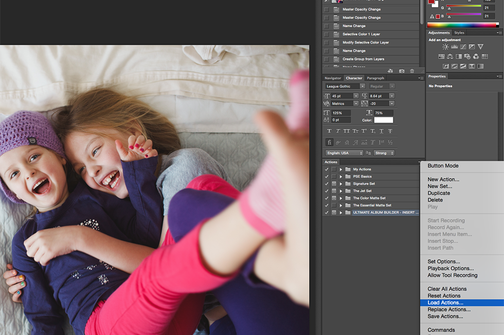 how to load and use actions in adobe photoshop by April Nienhuis