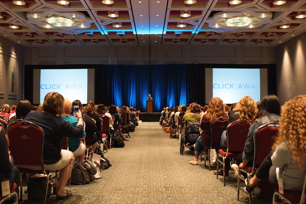 photo of Elizabeth Gilbert speaking at Click Away 2014 in Salt Lake City by Lacey Meyers