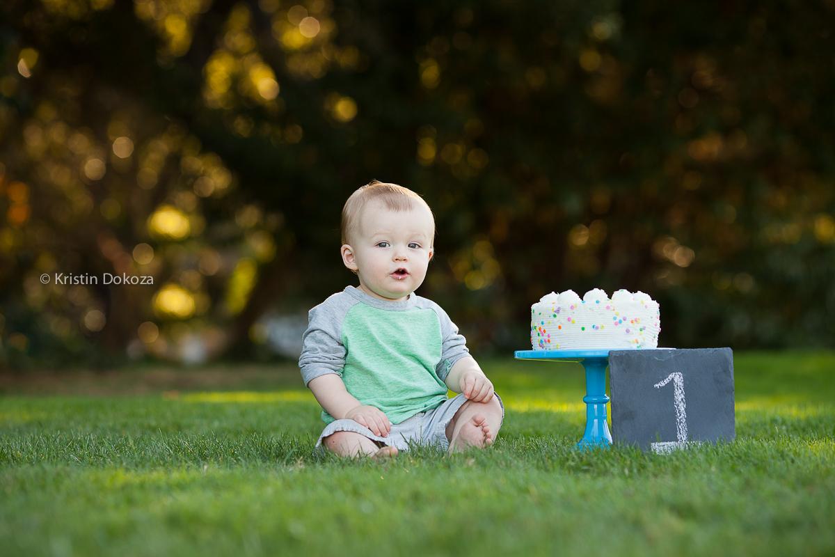 birthday boy with cake by Kristin Dokoza