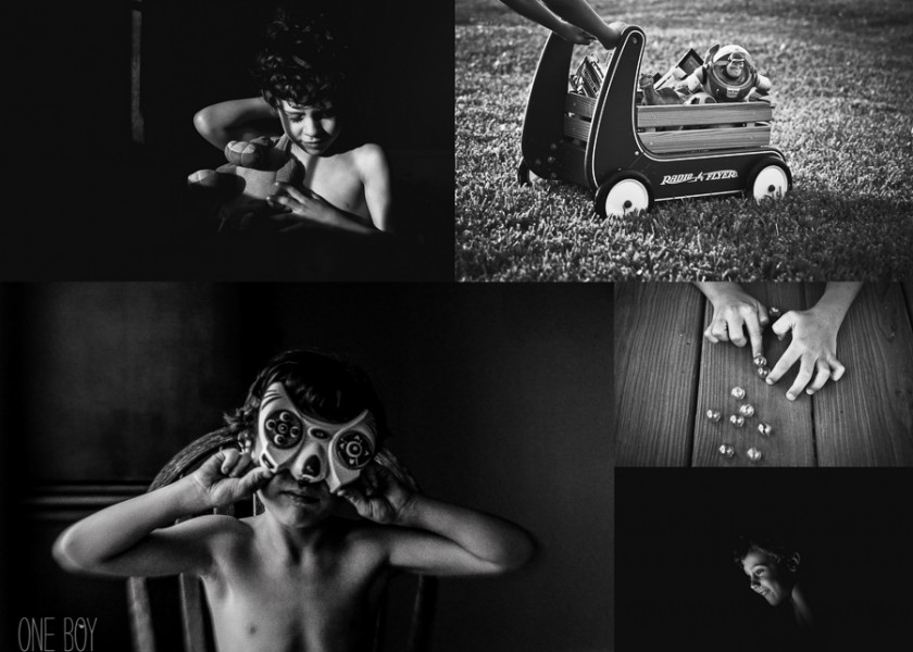 black and white photos of a boy playing with his toys by Jan Tyler