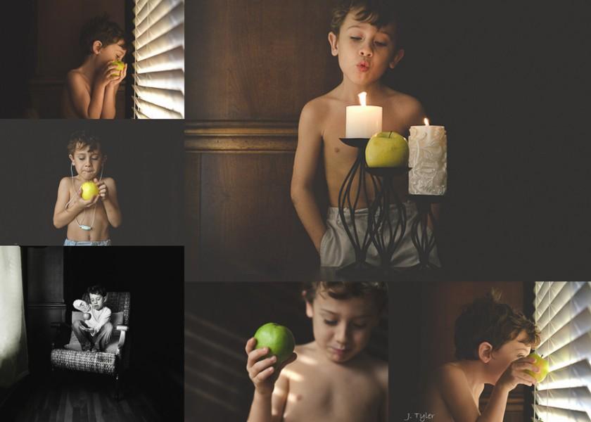 child enjoying fruit by Jan Tyler