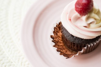 cupcake with a strawberry on top by Kristy Dooley