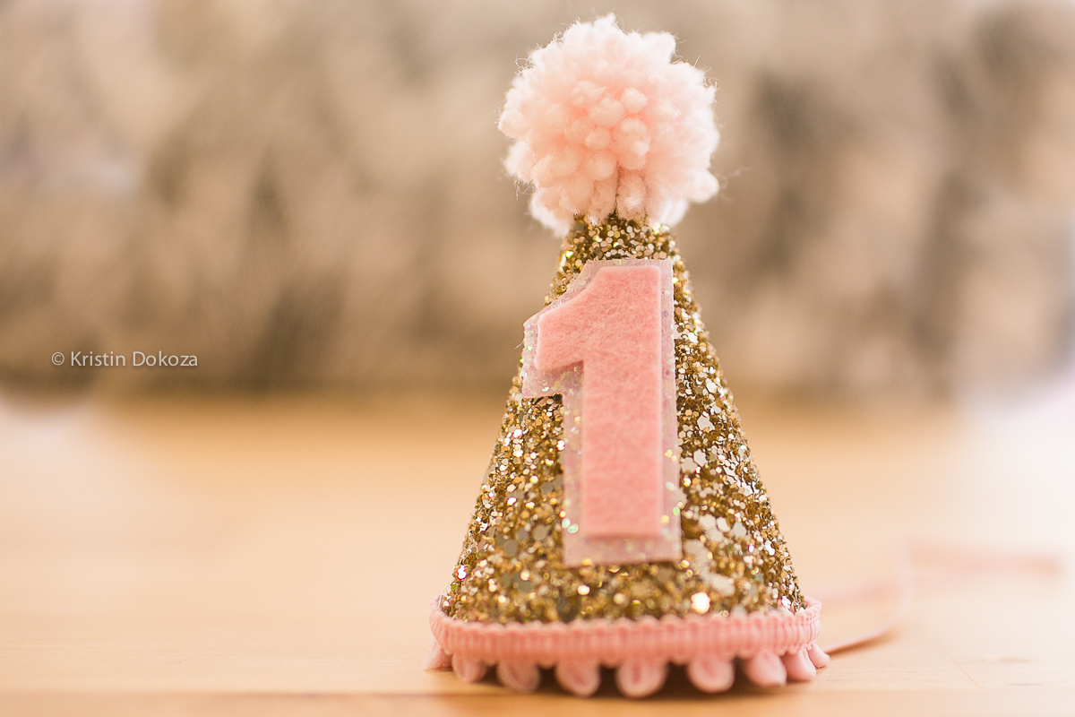 glittery birthday party hat by Kristin Dokoza