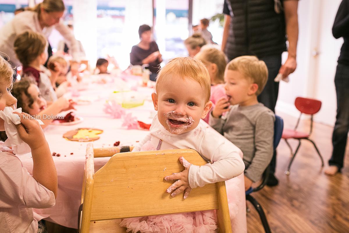 happy birthday girl covered in cake by Kristin Dokoza