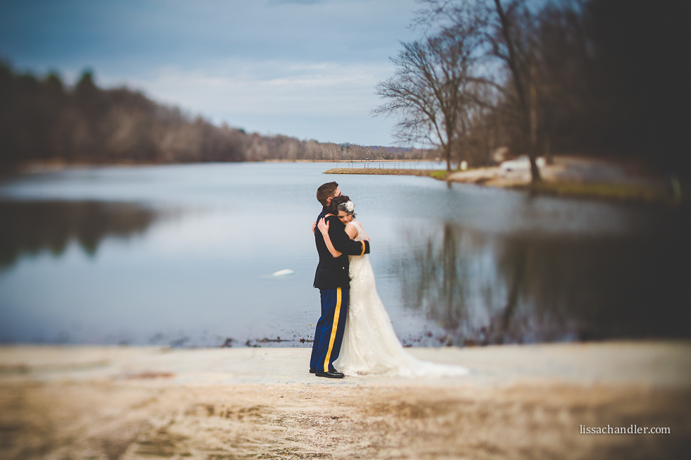 Canon 45mm tilt shift lens used on a bride and groom by Lissa Chandler