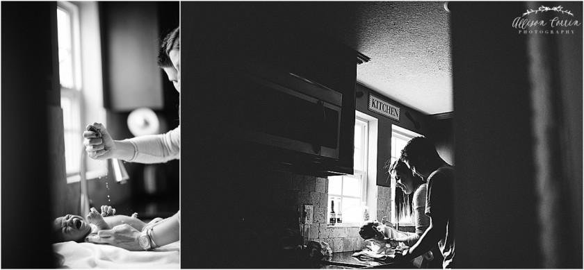 black and white photos of parents giving baby a sink bath by Allison Corrin