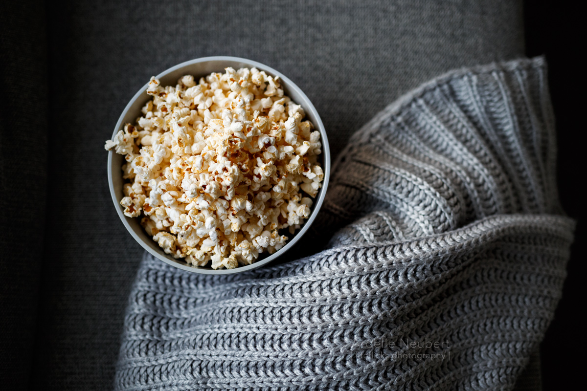 bowl of popcorn by Ardelle Neubert