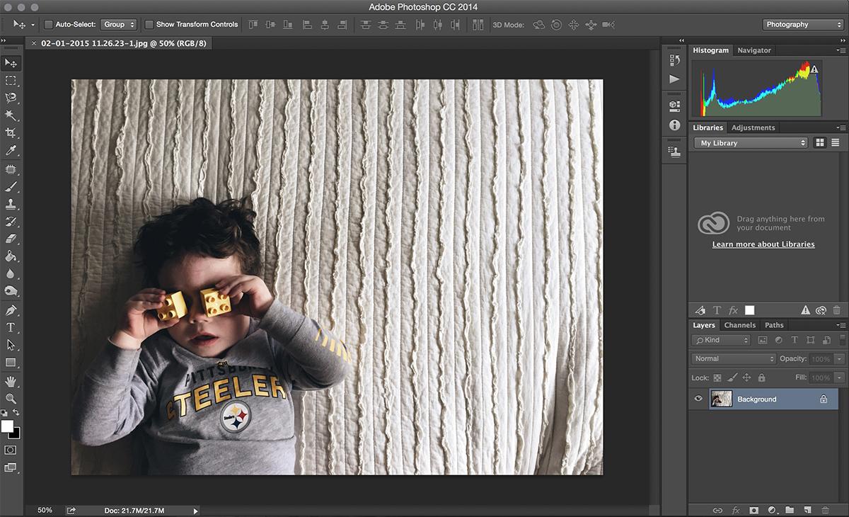 editing in Photoshop screenshot from Melissa Stottmann