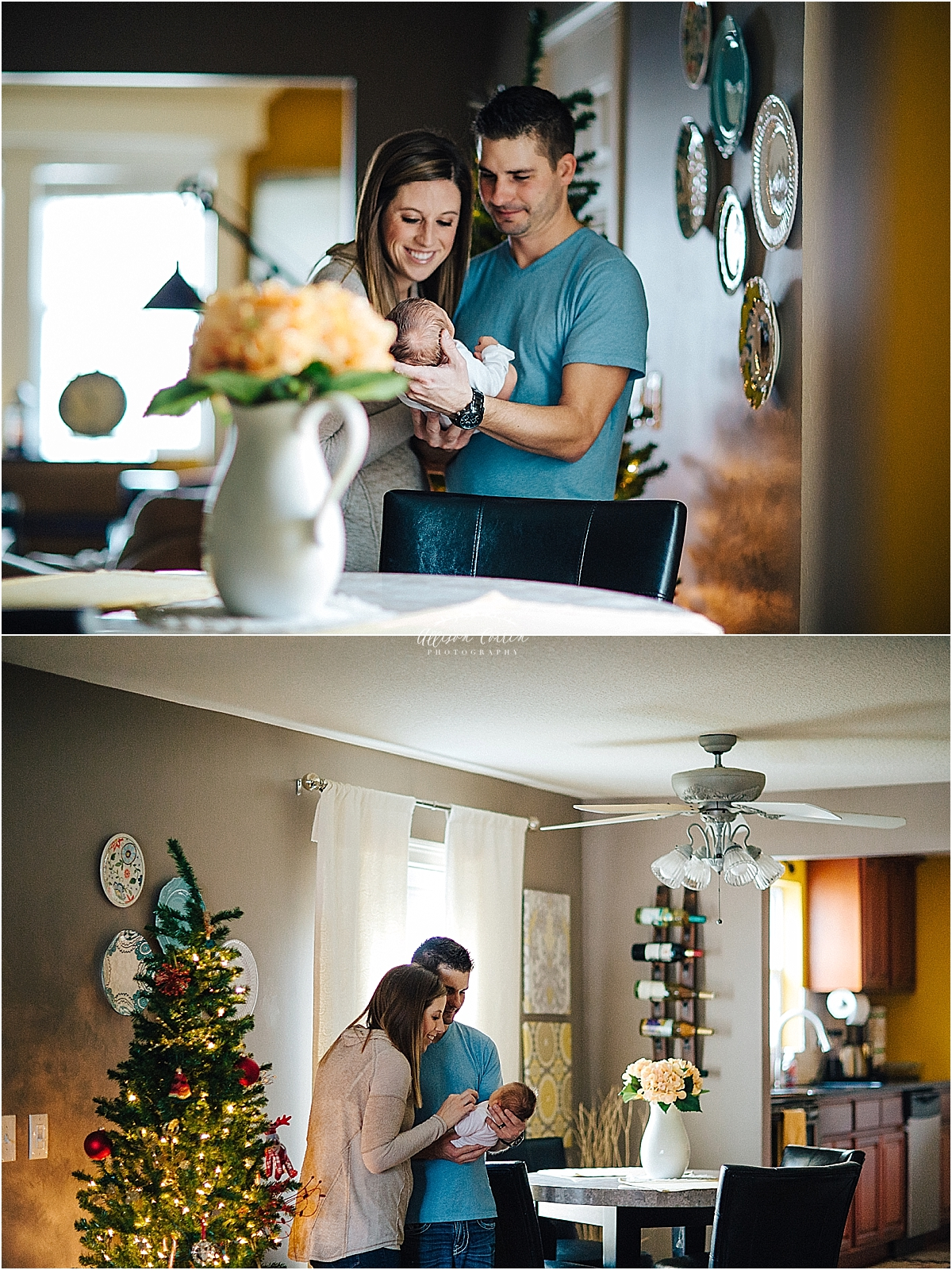 mom and dad holding newborn by Allison Corrin