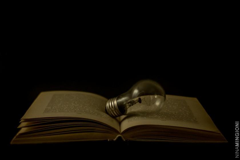 still life photo of lightbulb and book by Nina Mingioni