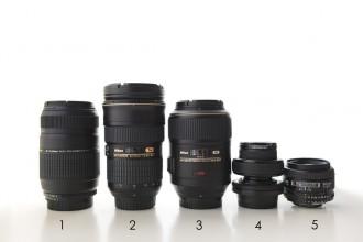 Nikon and Lensbaby camera lenses