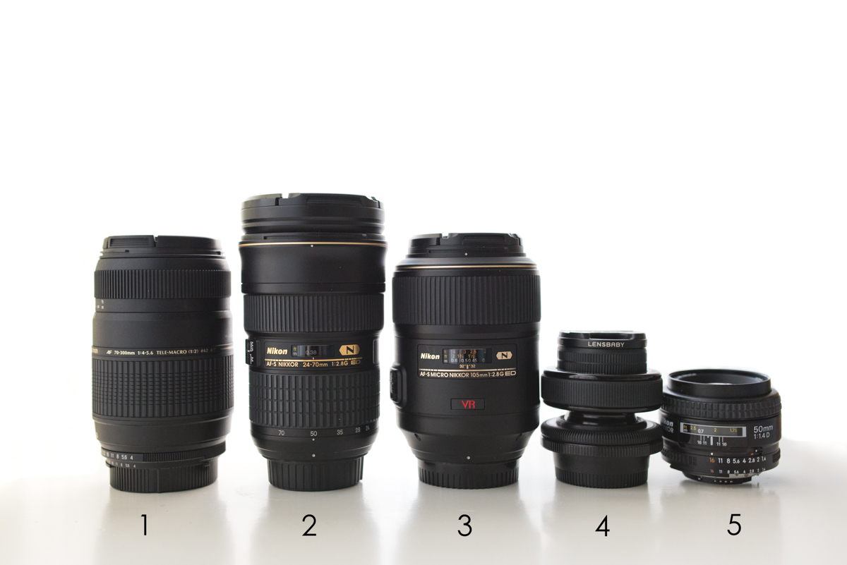 Nikon and Lensbaby camera lenses
