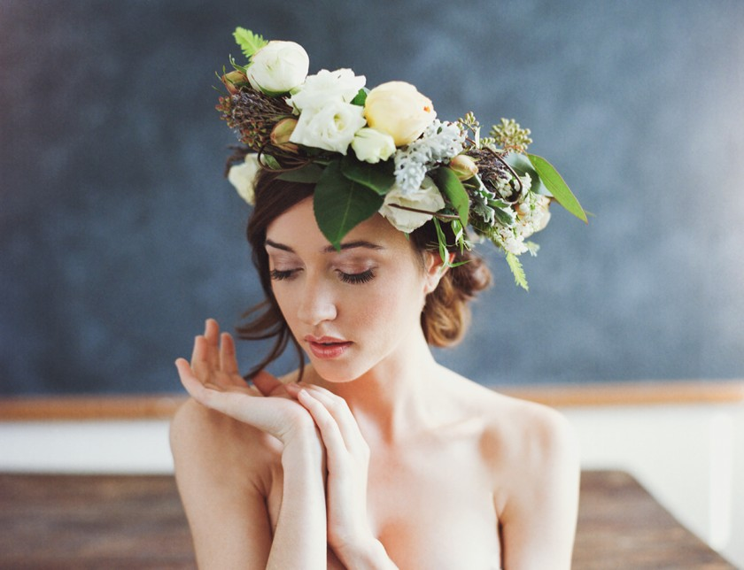 woman in a flower crown by Ben Sasso