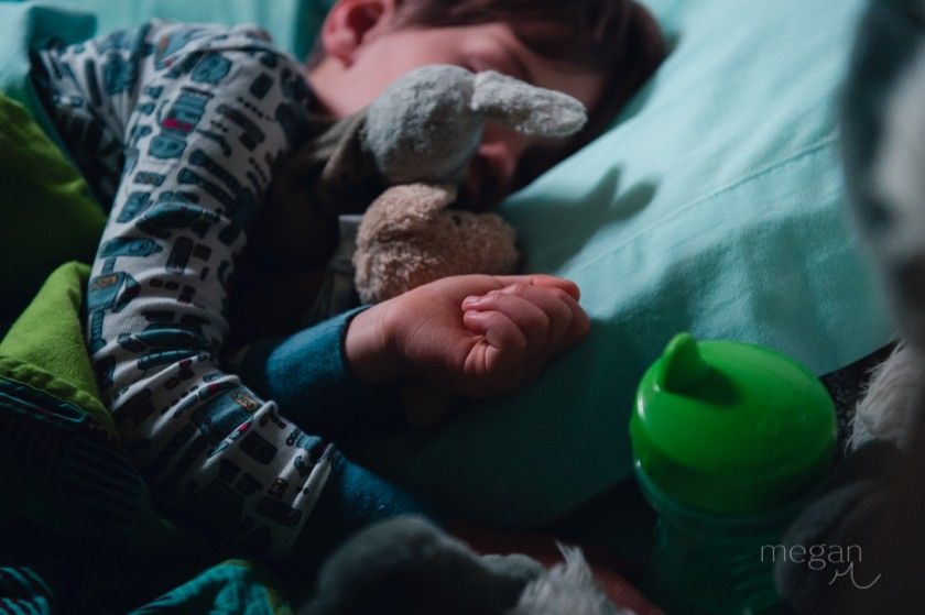 14 Picture of boy at bedtime with a single light source and stuffed animal by photographer Megan Cieloha