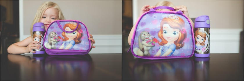 a girl and her Sophia the First school lunchbox by Tiffany Kelly