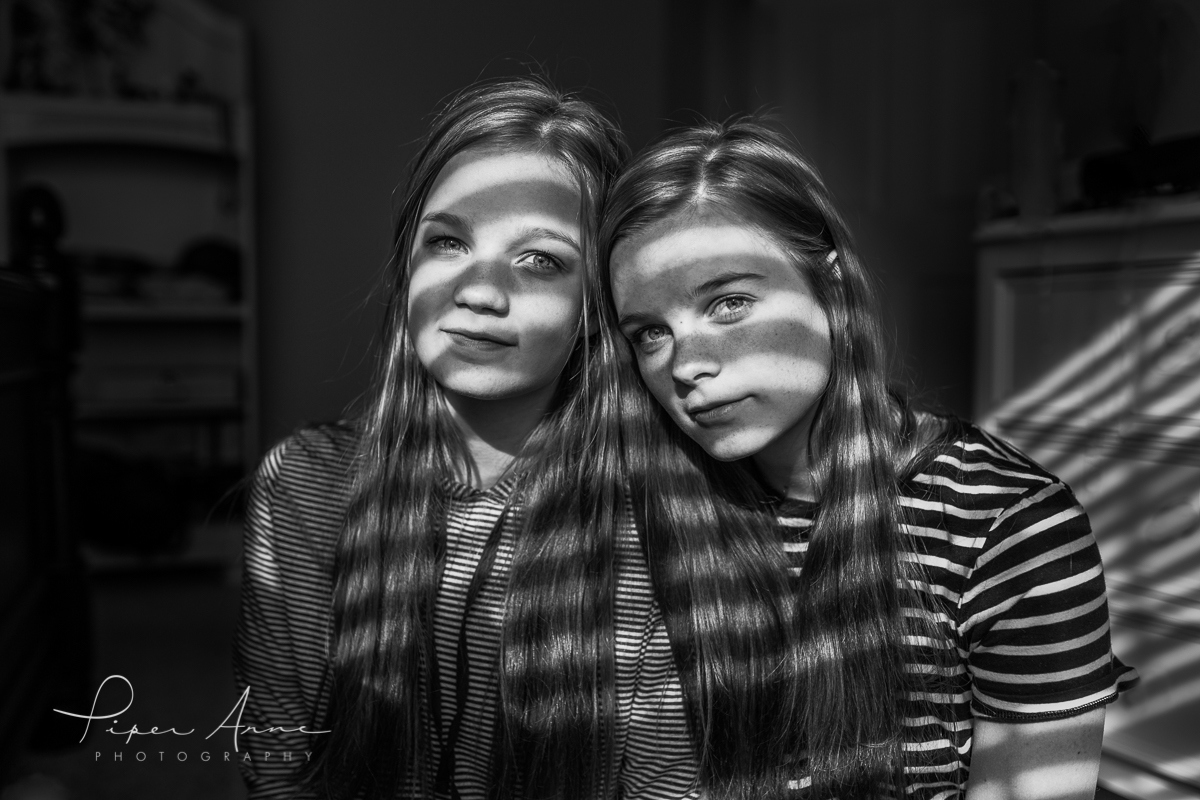 black and white portrait of two sisters by Piper Anne Photography