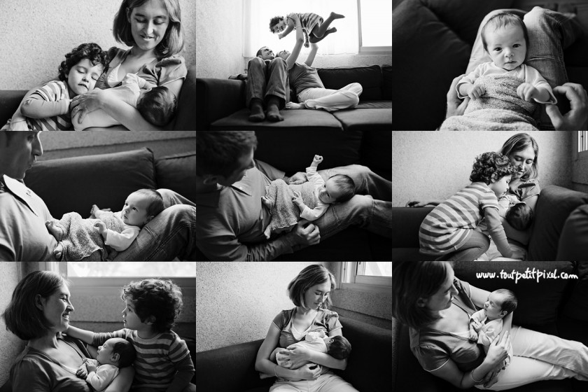 collage of black and white newborn pictures by Lisa Tichane of Tout Petit Pixel