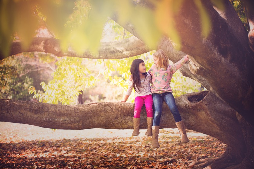 girls sitting on a tree limb by Lisa Furey