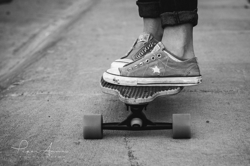kid riding on a skateboard by Piper Anne Photography