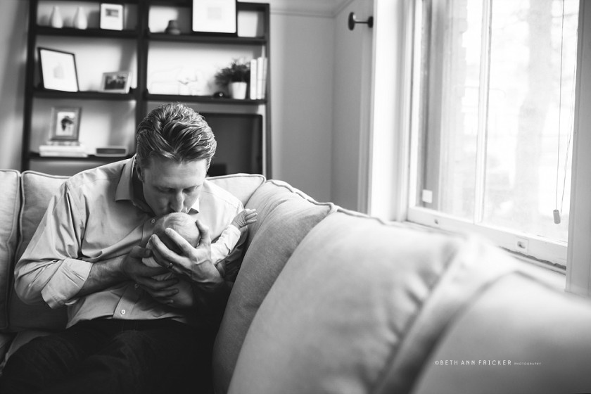 picture of dad kissing baby by Beth Ann Fricker