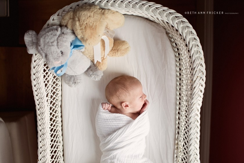 picture of newborn swaddled in bassinet by Beth Ann Fricker