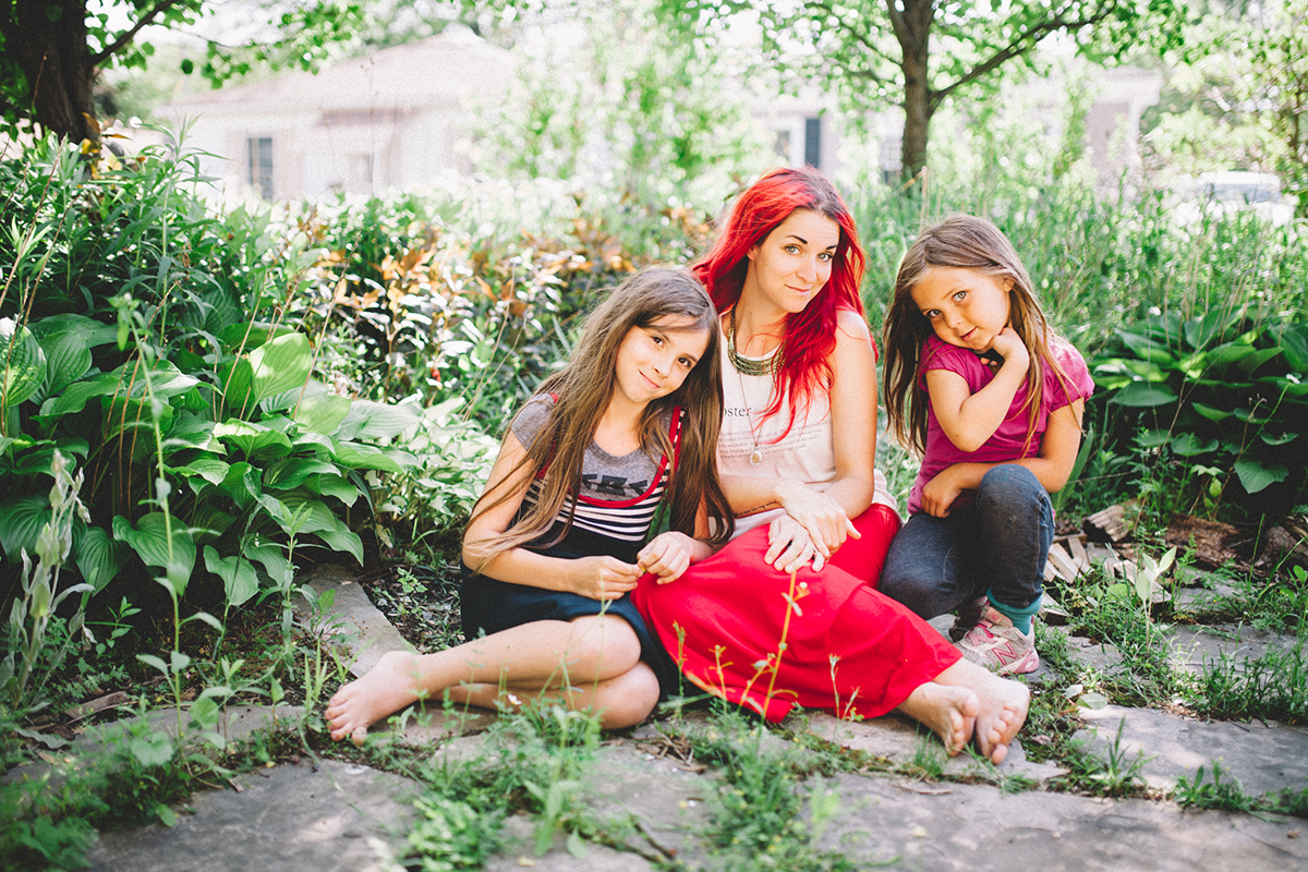 self portrait of mom and daughters by Jessica Lutz