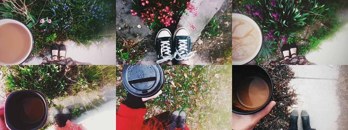 series of selfies taken in a garden by Jessica Lutz