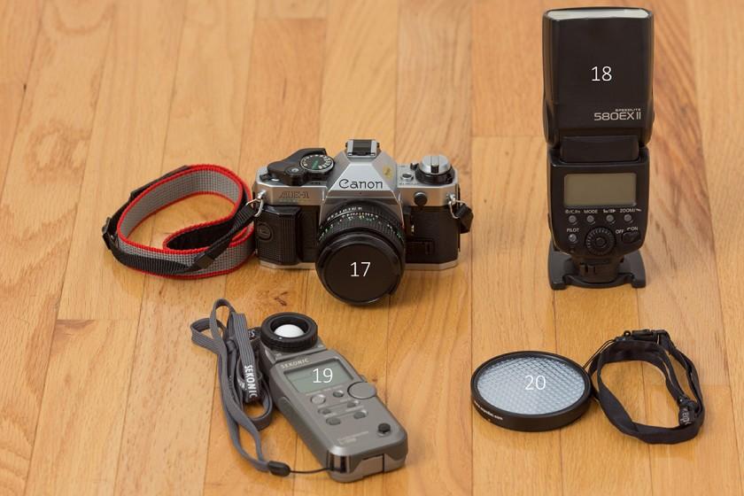 Canon film camera and 580 ex II
